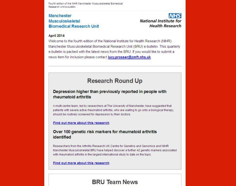 NIHR Manchester Musculoskeletal BRU e-bulletin